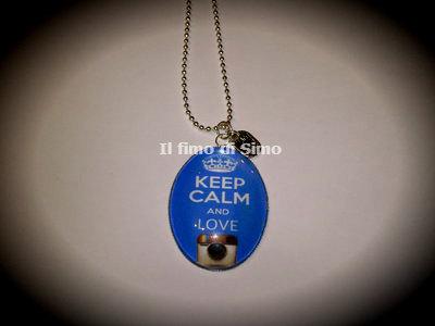 collana cabochon keep calm and love instragram