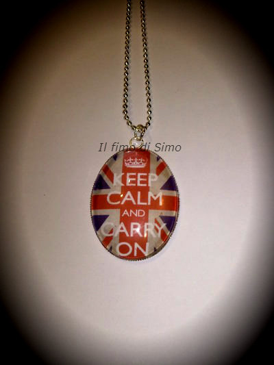 collana cabochon keep calm and carry on