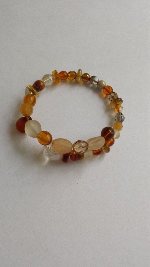 Bracciale perle vetro marrone mix