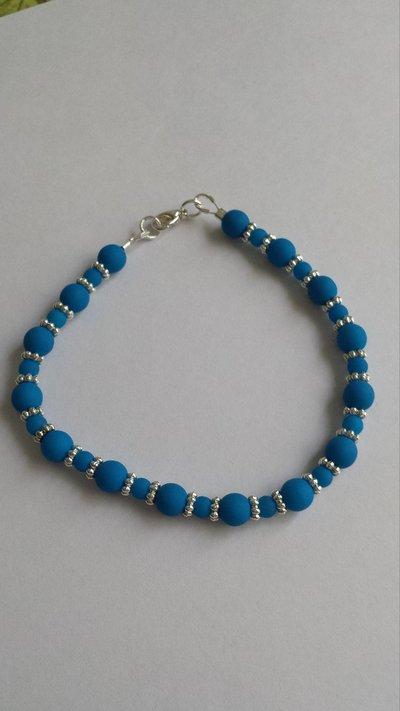 Bracciale perle cerate blu neon