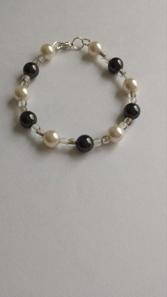 Bracciale perle Swarovski bianche e nere