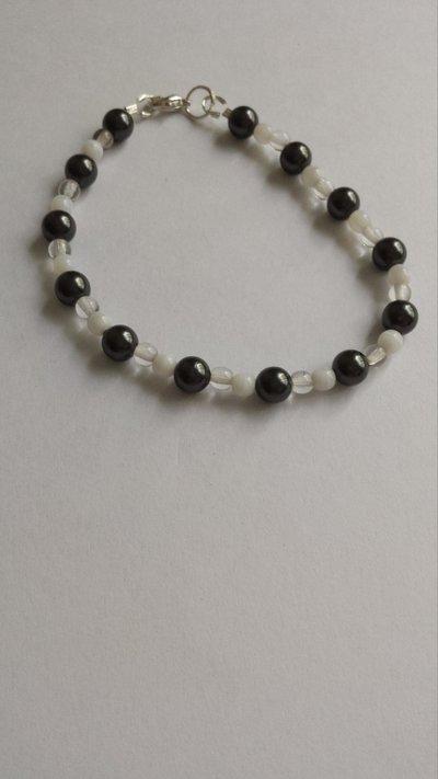 Bracciale perle nere Swarovski