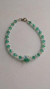 Bracciale cristalli Swarovski verde e trasparente