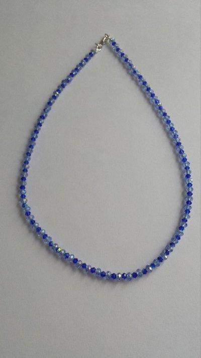 Collana rondelle e biconi Swarovski blu
