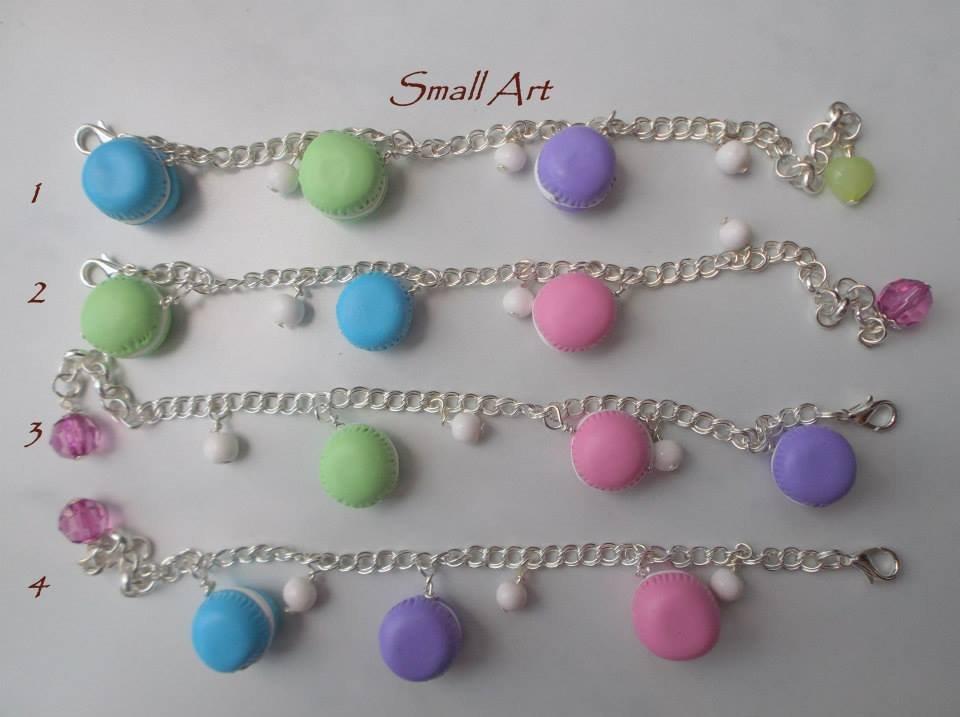 Bracciale con charms Macaron - doppia misura - color argento - vari colori