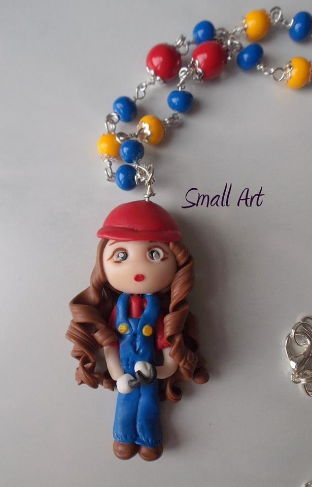 Collana lunga con doll-Idraulico - Completamente modellato a mano