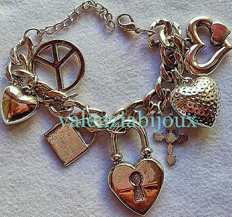 bracciale cuore metallo argentato