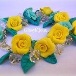 Bracciale giardino di rose  in fimo giallo e verde da donna fatto a mano