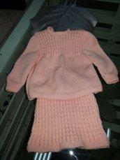 completino neonata rosa gonna e maglioncino