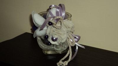 bomboniera segnaposto artigianale fai da te bicchiere candela lilla