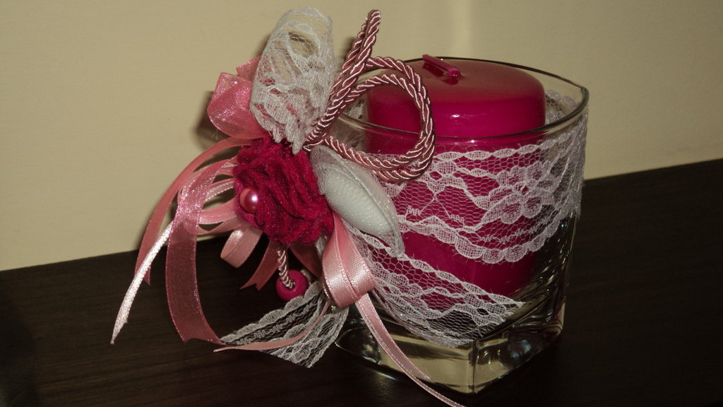 bomboniera utile segnaposto artigianale fai da te bicchiere candela profumata fucsia