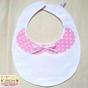 1 Bavaglino elegante bambina sfondo bianco colletto rosa a pois cuori bianchi
