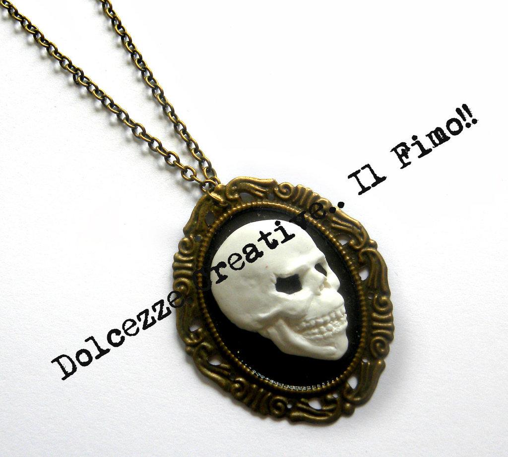 Collana Cammeo Bronzo Teschio scheletro goth emo dark