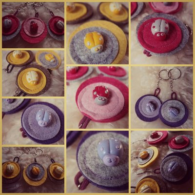 Ciondolo Portachiavi yellow tone fimo e feltro con coccinella