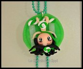 Collana con cammeo in fimo Sweet Delicious Green fatta a mano.