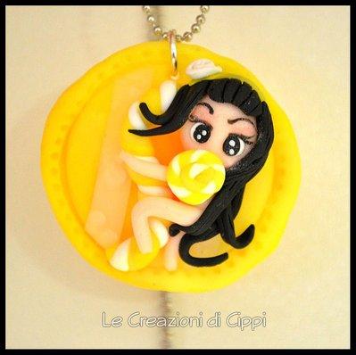 Collana con cammeo in fimo Sweet Delicious Yellow fatta a mano.