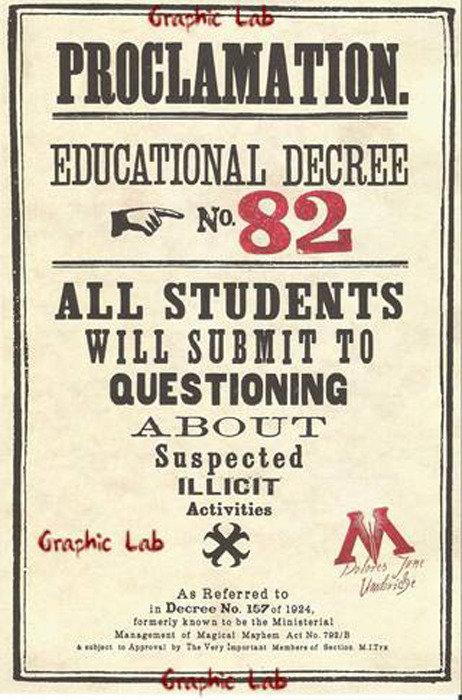Decreto Didattico n. 82 della Umbridge Harry Potter