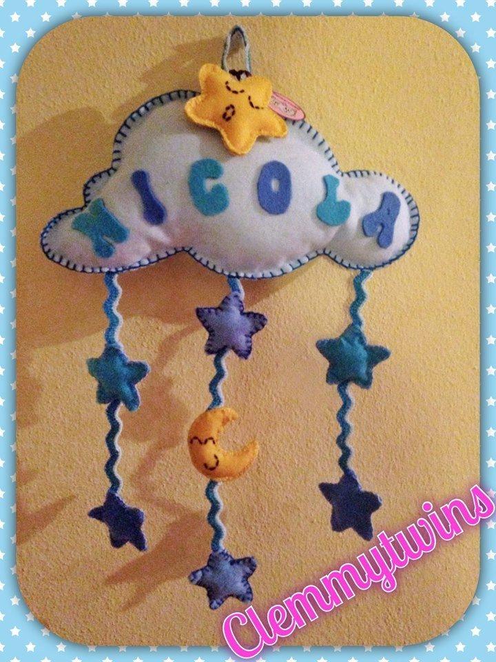 Nuvoletta con pioggia di stelle (fiocco nascita o fuori porta della cameretta)