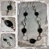 Collana in Onice Nero e Perle di Acqua Dolce