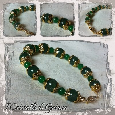 Bracciale in sfere di Giada verde con copricoppette oro