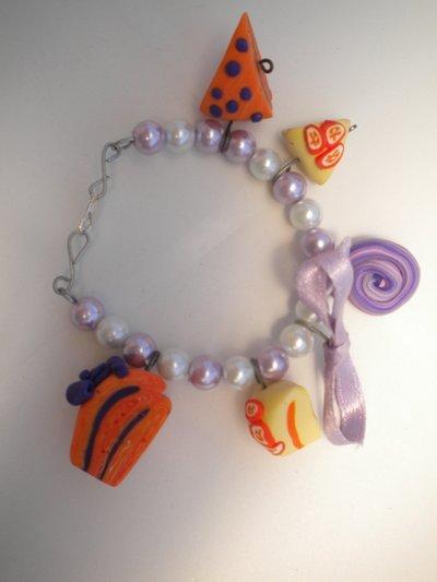 Braccialetto dolci arancione e viola
