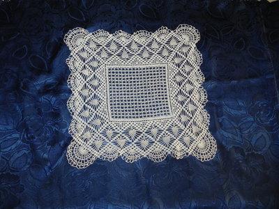 CENTRINO UNCINETTO  bianco quadrato cotone 100 %