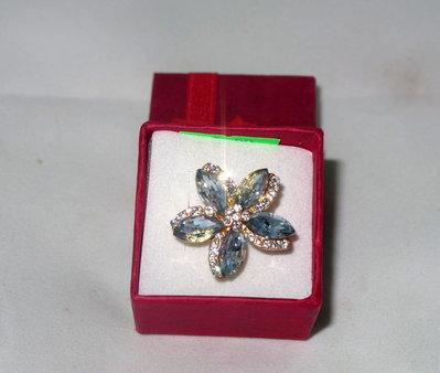 anello regolabile fiore con perle gocce in vetro e strass