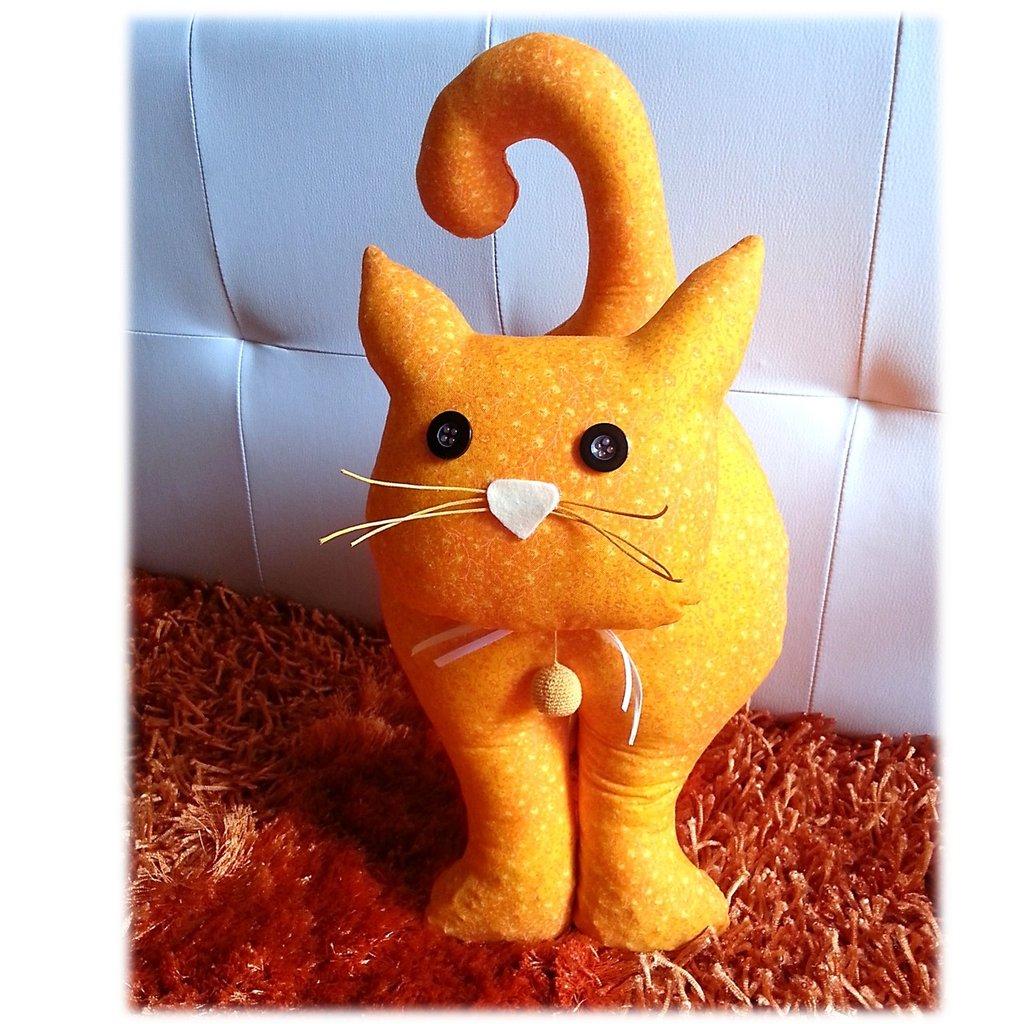 Gatto fermaporta stoffa- arancione- mandarino