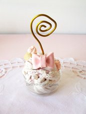 *IN OFFERTA* Portafoto / segnaposto bicchierino in vetro decorato con panna e fimo rosa cipria