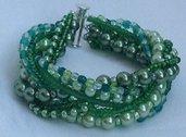 Bracciale Perle Vetro Verdi