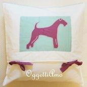 Cuscino 50x50cm con la sagoma di un welsh terrier : il vostro cane preferito arrederà il vostro divano!