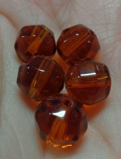 20 perline vetro sfaccettato color Caramello