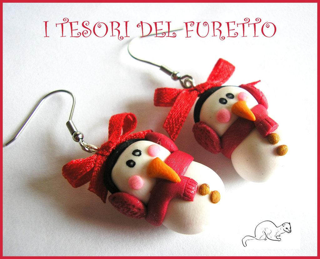 """Orecchini """"Natale Omini Di neve Con paraorecchie Rossi"""" Fimo cernit idea regalo Bambina"""