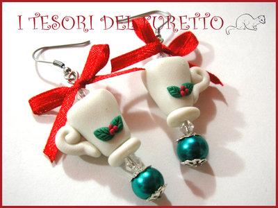 """Orecchini """"tazze di cioccolata"""" Natale Fimo cernit idea regalo Bambina"""