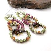 Orecchini in argento, orecchini grandi, orecchini colorati, orecchini con pietre dure - FRUTTI DI PASSIONE