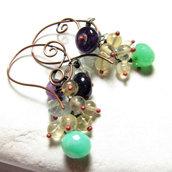SPIRALI VERDI - orecchini a monachella,orecchini con pietre dure, orecchini in rame, orecchini verdi