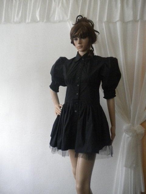 Elegante camicia nera crinolina