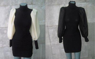 Elegante tunica delle signore del cotone  con lycra  maniche bianco ,nero