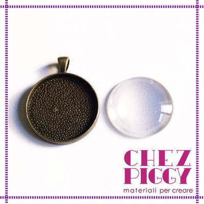 Ciondolo tondo bronzo + vetrino trasparente 3 cm