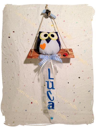 Gufi baby  in stoffa  personalizzati per regalo o fiocco nascita