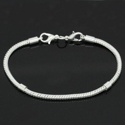 Bracciale snake  a due Chiusure Moschettoni 19cm per perle a foro largo