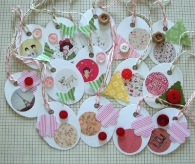 Lotto Etichette Chiudipacco Vintage Tags - Scrapbooking & Packaging^^ (14pz)