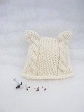 """Cappellino per neonato in lana biologica / Accessori neonato / Abbigliamento neonato / Cappellino """"orsetto"""""""