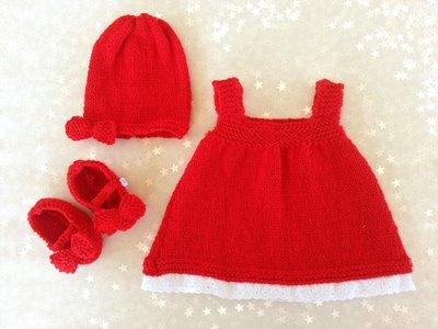Set regalo neonato in lana rosso, vestito cappellino e scarpette