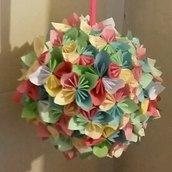bouquet pendente fiori origami colori pastello