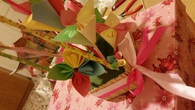 idea regalo composizione fiori origami