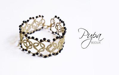 Bracciale - Chiacchierino filo dorato con perle nere