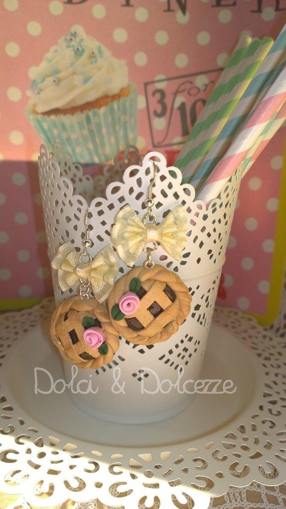 orecchini in fimo con crostatine al cioccolato