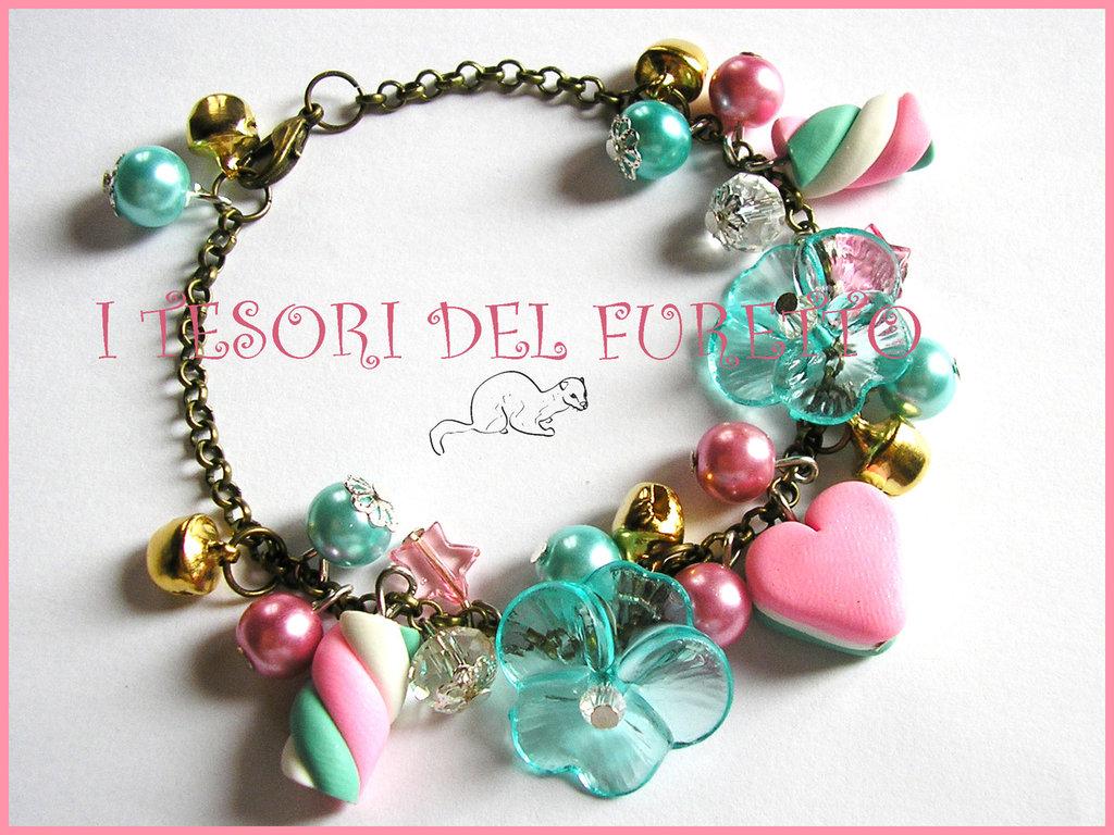 """Bracciale """"Spumoni catena bronzo"""" fimo marshmallow dolcetti idea regalo verde rosa bianco fiori lucite"""