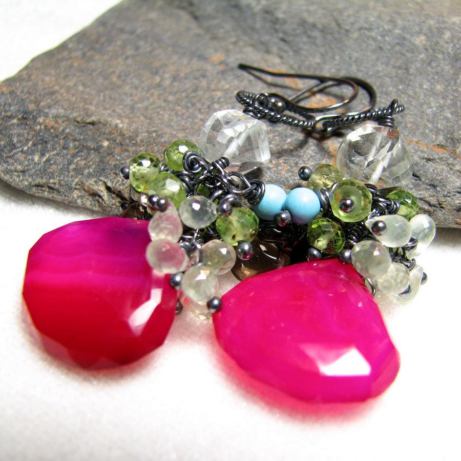 Orecchini in argento, orecchini fucsia, orecchini pendenti, orecchini colorati, orecchini con le pietre, orecchini con agata - CANDY